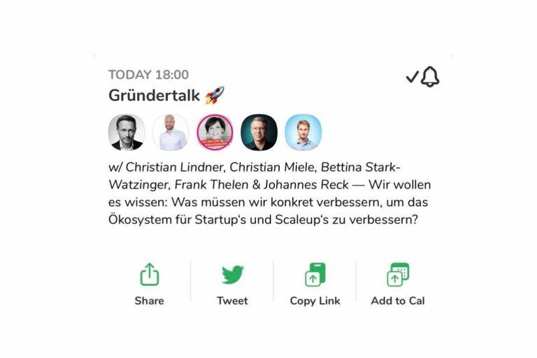 """Der Clubhouse-Gründertalk zum Thema """"Wie können wir das Ökosystem für Startups und Scaleups verbessern?"""""""